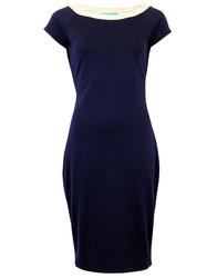 FEVER RETRO SIXTIES CONTRAST NECKLINE PENCIL DRESS