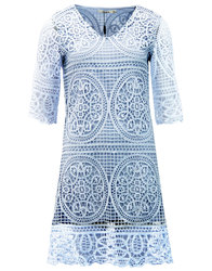 darling brandie retro 60s crochet tunic dress blue