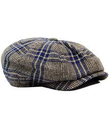 gibson london retro 60s purple check gatsby cap