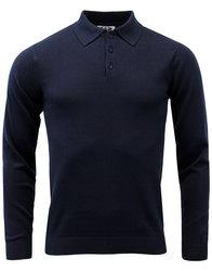 madcap england brando retro 60s mod knit polo navy