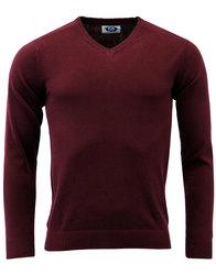 madcap england redford mod v-neck jumper maroon
