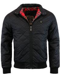 merc mens retro mod quilt harrington jacket black