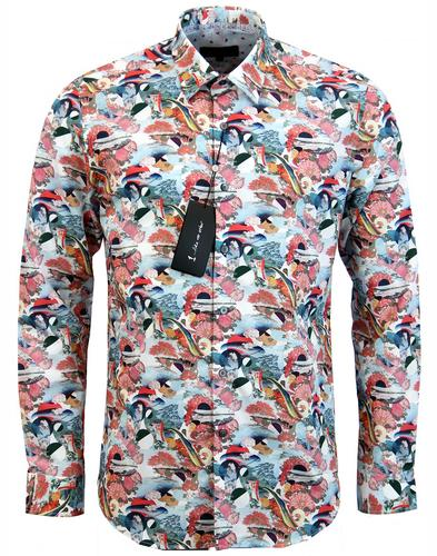 1 like no other post cards retro mod floral shirt