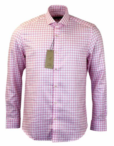 1 LIKE NO OTHER 60S PINK DOGTOOTH SHIRT