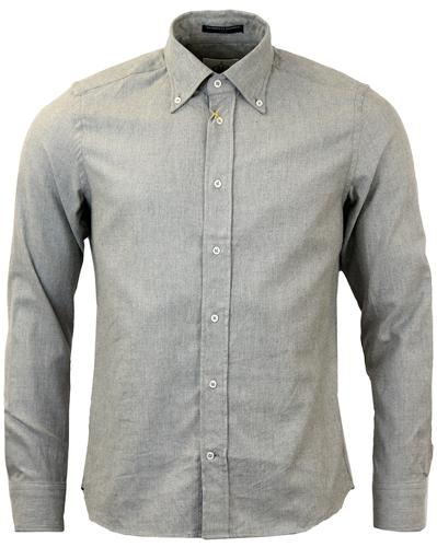 B D BAGGIES RETRO MOD OXFORD SHIRT GREY