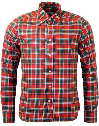 B D BAGGIES DEXTER RETRO MOD TARTAN SHIRT RED