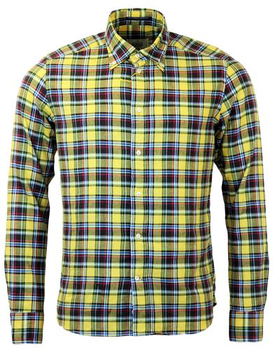 B D BAGGIES DEXTER RETRO MOD TARTAN SHIRT YELLOW