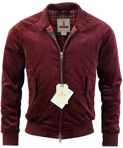 BARACUTA G9 CORD HARRINGTON RETRO JACKET BURGANDY
