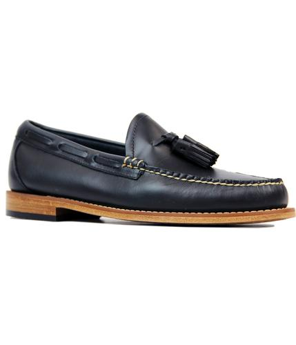 BASS WEEJUNS LARKIN PULL UP LEATHER LOAFERS NAVY