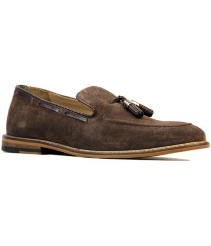 BEN SHERMAN ALFR ALDER RETRO SUEDE LOAFERS BROWN