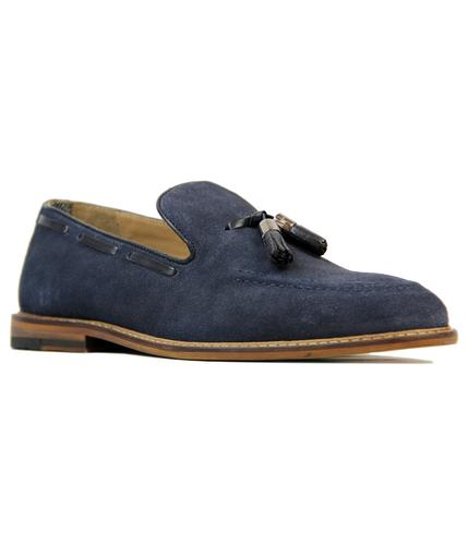 BEN SHERMAN ALFR ALDER RETRO SUEDE LOAFERS NAVY