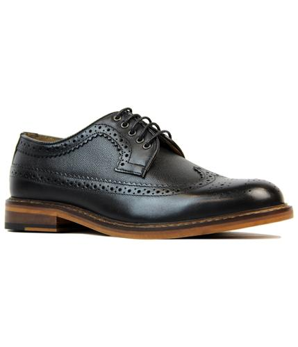 BEN SHERMAN DEON RETRO MOD LONGWING BROGUES BLACK