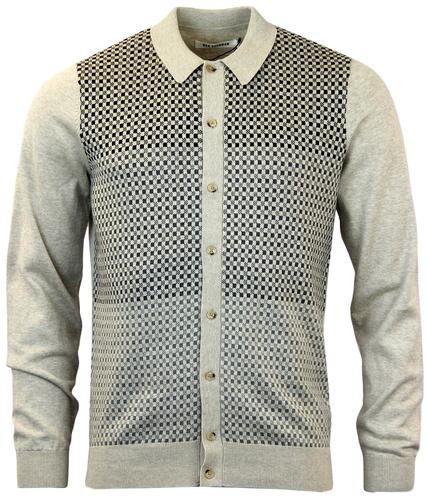 BEN SHERMAN MOD GINGHAM OMBRE POLO CARDIGAN