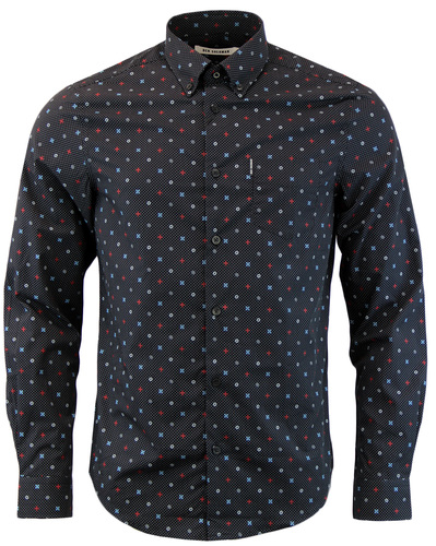 BEN SHERMAN 1960S MOD PIN DOT GEOMETRIC SHIRT
