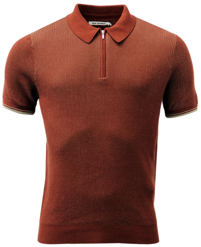 BEN SHERMAN 60S MOD RETRO KNITTED TONIC ZIP POLO