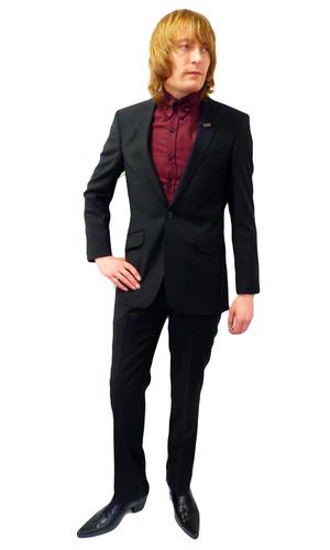 BEN SHERMAN Mens Retro 60s 2 Piece Black Mod Suit