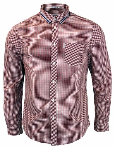 BEN SHERMAN RETRO TIPPED COLLAR GINGHAM SHIRT RED