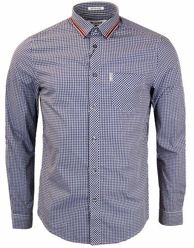 BEN SHERMAN RETRO TIPPED COLLAR GINGHAM SHIRT NAVY