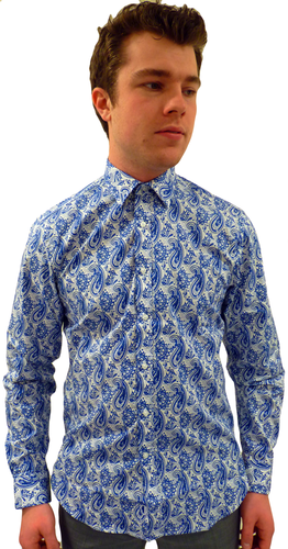 BEN SHERMAN MENS RETRO SIXTIES MOD PAISLEY SHIRT
