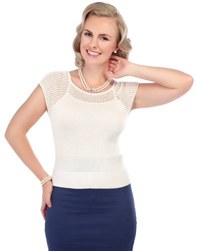 COLLECTIF CLAIRE RETRO VINTAGE CROCHET KNITTED TOP
