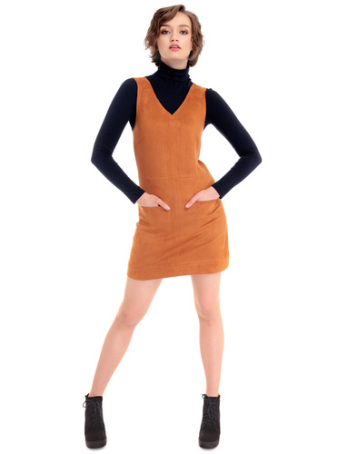 BRIGHT AND BEAUTIFUL JOSEPHINE 60S MOD SUEDE DRESS