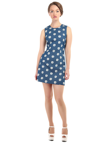 BRIGHT & BEAUTIFUL MANDY 60S DAISY DENIM DRESS