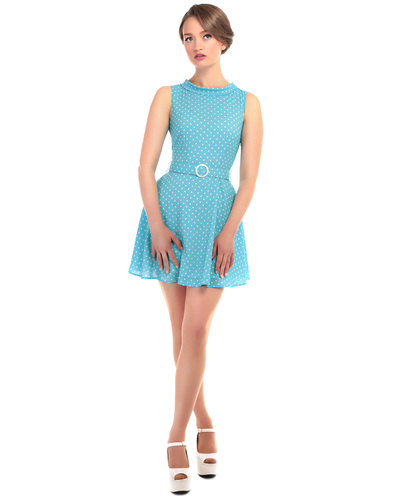 BRIGHT & BEAUTIFUL RUTH RETRO MOD POLKA DOT DRESS