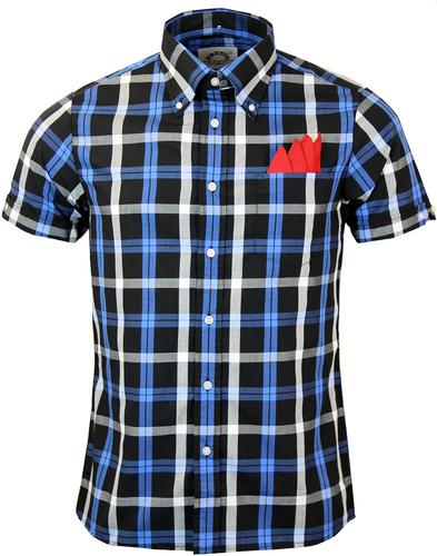 BRUTUS TRIMFIT RETRO BUTTON DOWN CHECK SHIRT BLUE