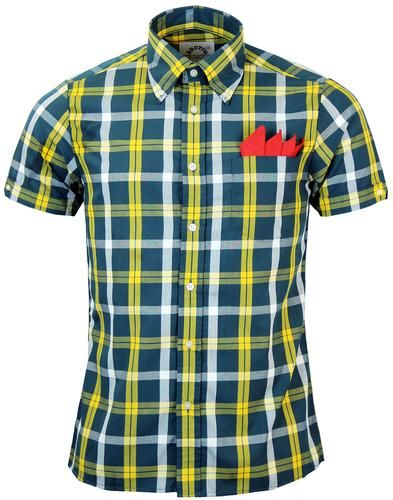 BRUTUS TRIMFIT RETRO BUTTON DOWN CHECK SHIRT GREEN