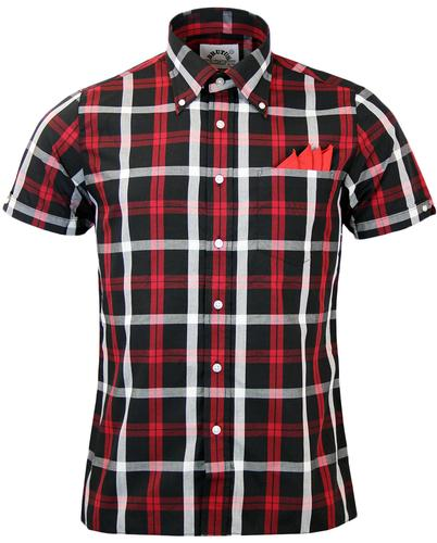 BRUTUS TRIMFIT RETRO BUTTON DOWN CHECK SHIRT RED