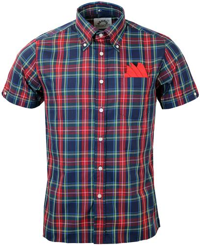 BRUTUS TRIMFIT RETRO BUTTON DOWN TARTAN SHIRT RED