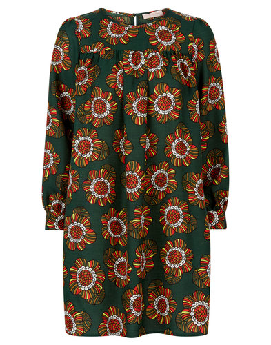 Traffic People Retro 70s Floral Daisy Dress Green