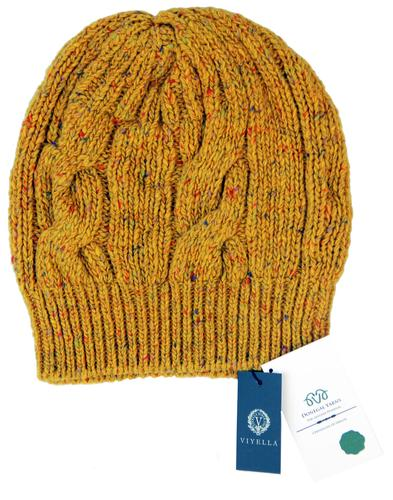 VIYELLA Retro Donegal Nep Vintage Cable Knit Hat