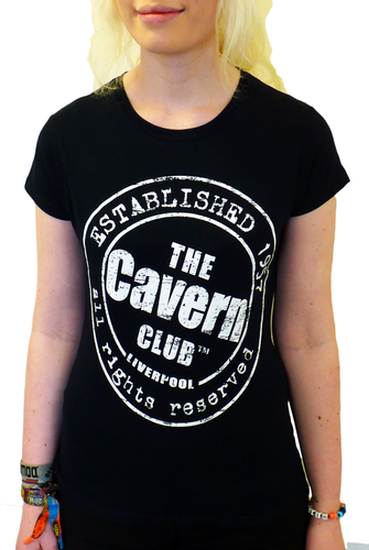 CAVERN CLUB T-SHIRT WOMENS ESTABLISHED 1957 BLACK