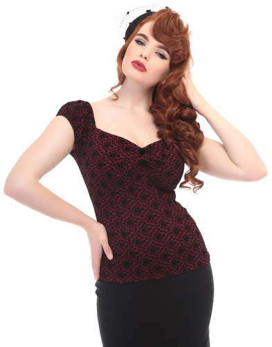 COLLECTIF DOLORES BROCADE RETRO VINTAGE TOP