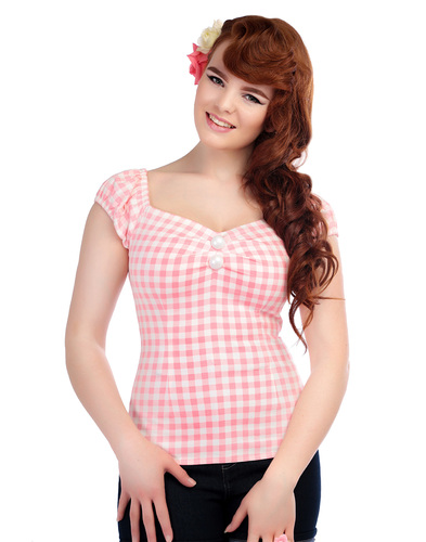 COLLECTIF DOLORES VINTAGE 50S PASTEL GINGHAM TOP