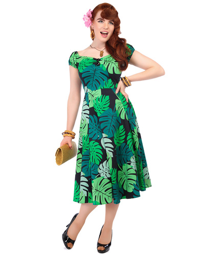 COLLECTIF DOLORES RETRO 50S TAHITI PALM DOLL DRESS