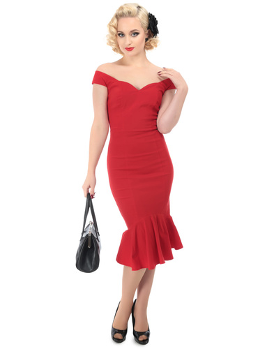 COLLECTIF JOSEPHINE RETRO VINTAGE FISHTAIL DRESS