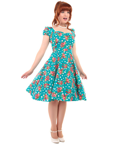 COLLECTIF MIMI RETRO POLKA DOT FLORAL DOLL DRESS