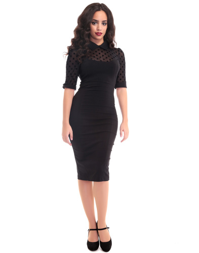 COLLECTIF WEDNESDAY RETRO VINTAGE PENCIL DRESS