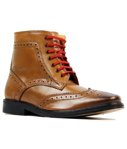 DELICIOUS JUNCTION LANDSLIDE BROGUE BOOTS TAN