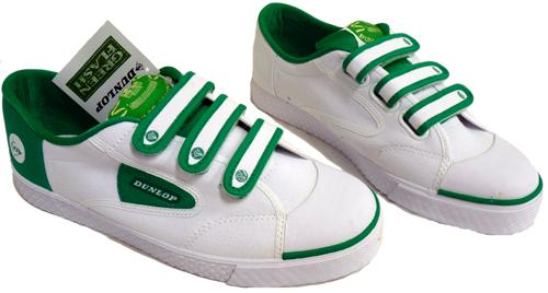 DUNLOP GREEN FLASH VELCRO TRAINERS RETRO INDIE MOD
