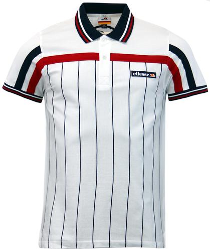 ELLESSE SAN LEO RETRO 80S FINE STRIPE PANEL POLO