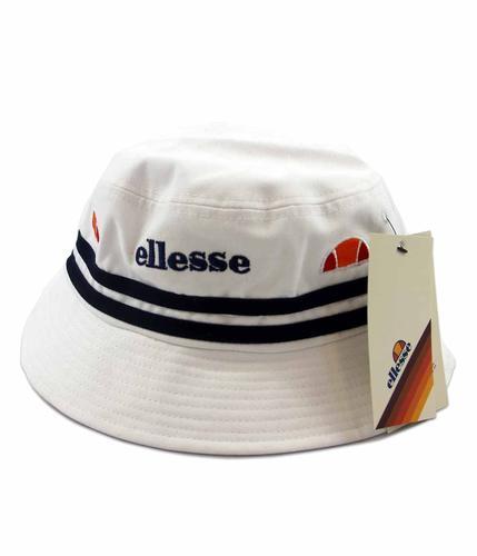 ELLESSE RETRO WHITE AND NAVY STRIPES BUCKET HAT