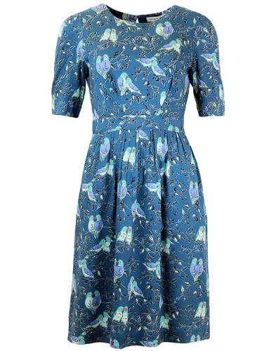 EMILY AND FIN HEATHER VINTAGE 50S BIRD PRINT DRESS