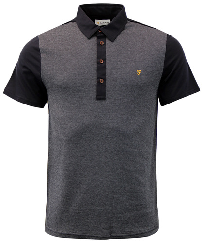 FARAH HAMMOND RETRO MOD BIRDS EYE FRONT PANEL POLO