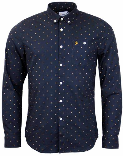 FARAH ALBYN LONG SLEEVE RETRO MOD SHIRT TRUE NAVY