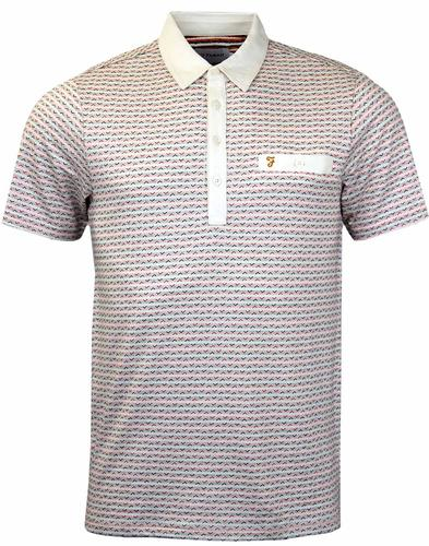 FARAH BALCOMBE RETRO SHORT SLEEVE POLO ECRU