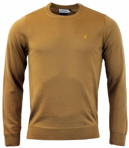 FARAH MULLEN WOOL RETRO MOD SWEATER CAMEL