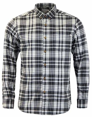 FARAH PAINE COTTON CHECK RETRO MOD SHIRT JET BLACK